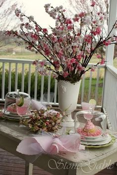 cottage garden / cherry blossoms shower / party