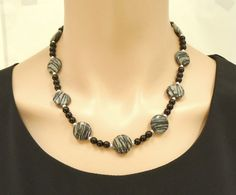 Black web jasper onyx and sterling silver by SilverSerenade, $42.00