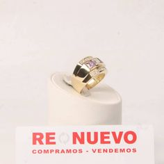 Anillo de oro con amatistas y circonitas blancas E277047D   Tienda online de segunda mano en Barcelona Re-Nuevo
