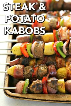 Grilled Marinated Steak and Potato Kabobs | Six Sisters' Stuff Grab the skewers and make this simply delicious Grilled Steak and Potato Kabobs recipe. With fresh chopped veggies, tender crisp potatoes, juicy steak, homemade marinade, and BACON . . . these are sure to become an instant favorite!! #kabobs #grilling