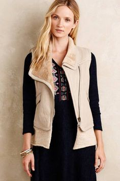 Leather Sherpa Vest by Doma | Pinned by topista.com