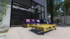 Instructions et plans 3D de la façon de faire un canapé pour le jardin avec des palettes 11