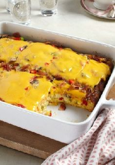 Cheesy Bacon Brunch Casserole Recipe ~ Bacon, eggs and hash browns topped with melty velveeta—it's everything you want for brunch in one delicious casserole.