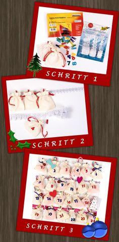 Dieser selbstgemachte Weihnachtskalender ist ein toller Bastelspaß für Groß und Klein. Sie können die Säckchen nach Belieben befüllen und gestalten.