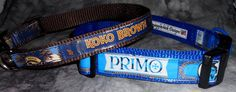 Adjustable dog collars from recycled Kona Koko Brown & Primo beer labels