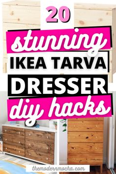 Here is the perfect IKEA TARVA dresser hack for any room. This post has the best IKEA TARVA hacks, both the nightstand and dresser, for your next DIY furniture makeover project. These IKEA furniture hacks are perfect for your bedroom, living room and kitchen. Save this for the best IKEA hacks and home décor ideas! #ikeahacks #tarva #ikeatarva #ikeadresser #ikeanightstand Ikea Nightstand, Ikea Tarva Dresser, Ikea Furniture Hacks, Furniture Makeover, Hacks Diy, Ikea Hacks, Best Ikea, Décor Ideas, Living Room