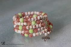 Bracelet multirangs rose, blanc et vert anis en perles de Tourmaline et perles de verre : Bracelet par lilyperles