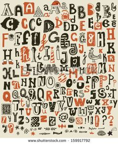 "Whimsical Hand Drawn Alphabet Letters and Keystrokes - Doodle alphabet sets with most common keystrokes: question marks, exclamation points, stars, ""at"" signs, dashes etc. - stock vector"