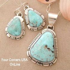 Dry Creek Turquoise Pendant Necklace Earring Set Four Corners USA Online Native American Artisan Jewelry - (