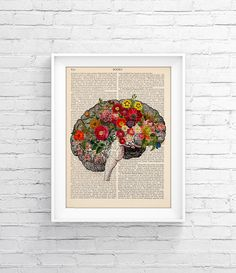 Upcycled Page book Print Vintage Illustration Print - Brain Flower - Wall decor Decorative Art Book Page Retro Poster Vintage Book print 023 - pinned by pin4etsy.com
