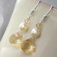 Champagne Crystal and Ivory Pearl Earrings