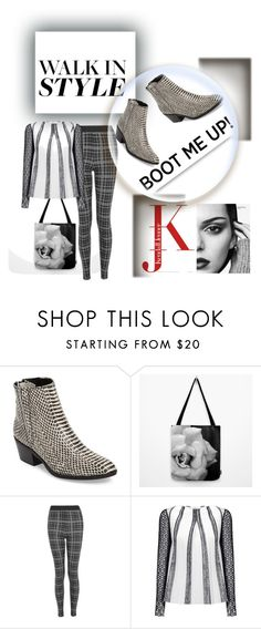 """""""Chelsie boot black & white"""" by gilliewill ❤ liked on Polyvore featuring Calvin Klein, Topshop and Roland Mouret"""