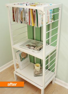 so cute little book shelf made out of a baby crib.! would be so easy to do