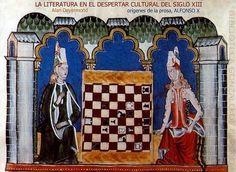 """""""el Libro de axedrez, dados e tablas""""  de Alfonso X, siglo XIII. (Hacer clic sobre la imagen para saber má³sobre el libro origen de las ilustraciones del artí£µlo)"""
