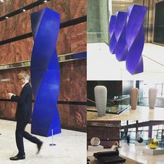 In all the excitement of yesterday evening I forgot about yesterday afternoon! First seen at Chatsworth back in September now on display at One Canada Square Canary Wharf...and elements to be installed at the gallery in a few weeks. Fantastic colour and scale in #AlexanderMacdonaldBuchanan's amazing ceramics.  And what did I do yesterday evening....? Just a studio visit to #AnthonyGormley. You know as you do. Whilst I took hoards of photos I'm not allowed to post them online so you'll just…