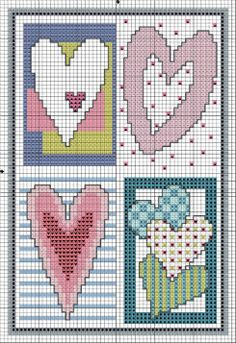 free Sweet Hearts Cross Stitch pattern from DMC