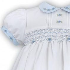 White and blue smocked Sarah Louise summer dress 9263 (4129) Supplied by Justdresses.co.uk