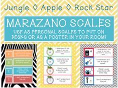 I created this Marzano Scale so that students could each have a scale on their desk. The students will be able to use a dry erase marker to shade in the apple that best fits their understanding. There is 4 scales to a page. Includes a RockNRoll and Jungle theme!!