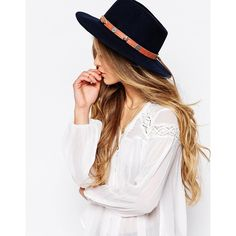 French Connection Felt Wide Brim Fedora Hat (€13) ❤ liked on Polyvore featuring accessories, hats, navy, wide brim hat, navy fedora hat, navy felt hat, navy blue fedora hat and navy fedora