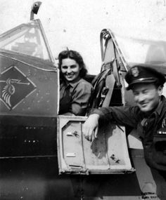 Division 308 'Krakowski'. Lieut. Stański from Division 308 and Barbara Sławińska. She was liberated from Oberlangen Camp by soldiers of the 1st Armoured Division. She used to be a soldier in the Warsaw Uprising.   Emblem of the Division 308 visible on the fuselage.