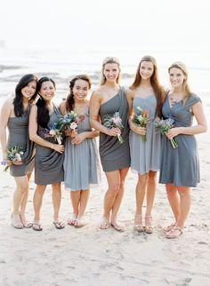 Grey Bridesmaids Dresses For Beach Wedding Town
