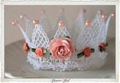 Photo Prop Lace Crown Tiara Apricot Rose Hand formed & embellished by GoosieGirlEtsy, $45.00