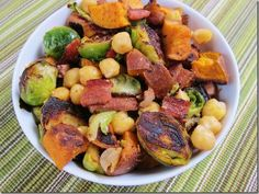 Sweet Potato, Chickpea, and Brussels Sprout Salad (Veganize the original recipe by omitting the bacon)