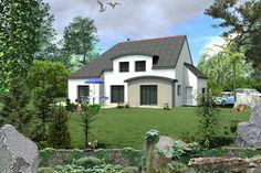 Maison toit en ardoise avec lucarne et avancée en toit arrondie en ...