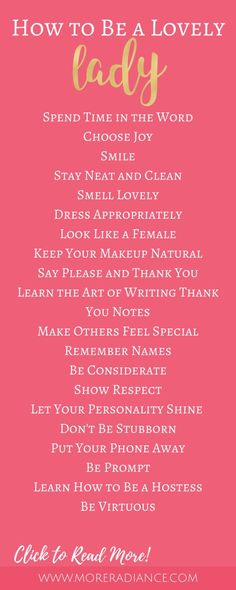Ways to Be a Lovely Lady I agree with most of these. LORD help me, pleaseI agree with most of these. LORD help me, please Lady Rules, Act Like A Lady, Being A Lady, Being A Woman, Being A Girl, Being In Love, Etiquette And Manners, Table Etiquette, Little Bit