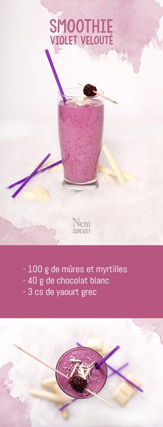 My 5 colorful smoothies - purple Juice Smoothie, Smoothie Drinks, Fruit Smoothies, Healthy Smoothies, Healthy Drinks, Smoothie Recipes, Milk Shakes, Summer Drinks, Cocktail Drinks