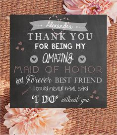 HALF PRICE!!! Personalised 'Thank you Maid of Honor/Bridesmaid' Digital file - Friends - Custom colours - wedding