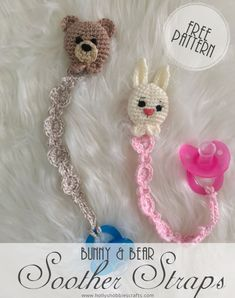 Bunny & Bear Soother Strap: Free Pattern Baby Patterns, Knitting Patterns, Crochet Patterns, Crochet For Kids, Free Crochet, Unique Crochet, Crochet Pacifier Holder, Baby Mobile, Bunny And Bear