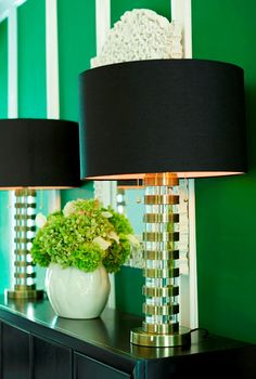Make a grand entrance with statement lamps and a surprising wall color! Switch out your lampshades seasonally, as darker shades create warmth during the colder months. Bright Walls, Home Decor Inspiration, Decor Ideas, Foyer, Entryway Decor, Interior And Exterior, Interiores Design, Home Accessories, Home Goods