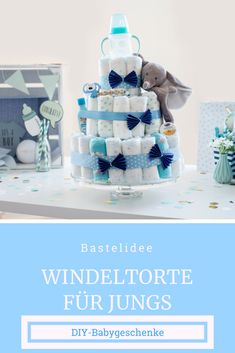 Nappy Cake Boy: Nappy Cake Boy's Guide, Winding Cake Boy Make It Yourself! This chic and practical baby gift you can easily tinker yourself.Informations About Windeltorte Junge: Windeltorte Junge Anleitung, Windeltorte Junge selber machen! Elephant Diaper Cakes, Diaper Cake Boy, Elephant Baby, Best Baby Shower Gifts, Baby Shower Parties, Baby Shower Presents, Diaper Animals, Baby Showers Juegos, Homemade Baby Gifts