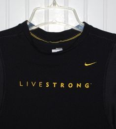 NIKE LIVESTRONG Shirt Womens M 8-10 Fit Dry Short Sleeve Black #Nike #ShirtsTops