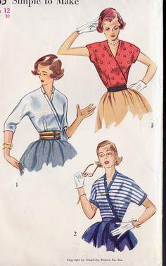 1950s Misses Surplice Blouse Vintage Sewing Pattern