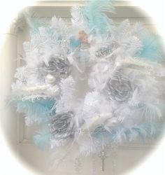 Shabby Blue White Silver Feather Christmas Bird Roses Wreath French Vintage Chic