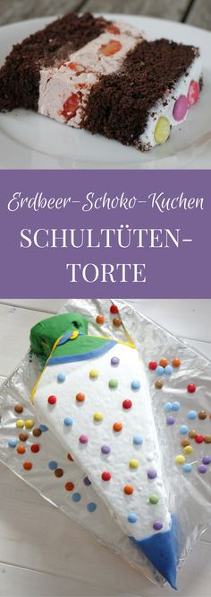Der Erdbeer-Schokoladen-Kuchen ist eine gute Basis für eine Schultütentorte. Das Swiss-Meringue-Buttercream Rezept und das Schokoladenkuchen Rezept sind so konzipiert, dass der Einschulungskuchen stabil ist und sich gut schneiden lässt. Durch die frischen Erdbeeren in der Buttercreme bekommt der Einschulungskuchen eine fruchtige Note.