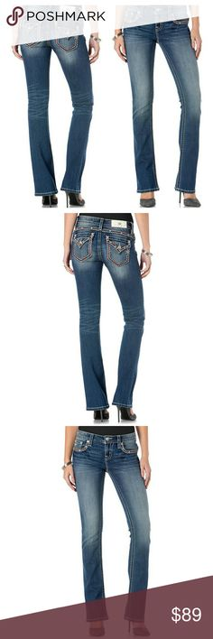 New! Miss Me Embellished Bootcut Blue Jeans NWT Day or night, Miss Me's bootcut jeans with embellished pockets will put a fun spin on your ensemble. You'll love the fit and feel of this fun pair.  Embroidery and rhinestones at pockets and hips Allover medium wash with whiskering and fading 34 inch inseam Slim bootcut silhouette.Mid-rise Button closure, zip closure, belt loops Flap pockets, slant pockets Medium-rinse wash Slim fit through hips and thighs 73% Cotton, 18% polyester, 7% viscose…