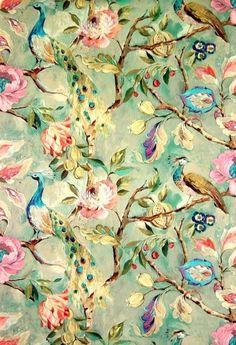 "The Green Room Interiors | ""Blenheim Celadon"" fabric by James Dunlop"