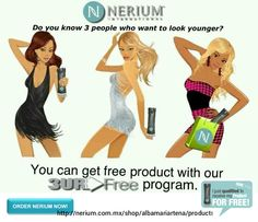 It is true! If you refer 3 people who become Preferred Customers with NeriumAD, you will receive your product for FREE! Just share your own results and people will want to know what you are doing with your skin!Only available through Nerium Brand Partners. I can help you get it at: http://albamariartena.nerium.com