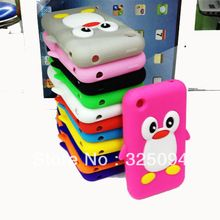 Penguin Silicone Case Cover for iPhone 3 3G 3GS Cartoon Soft Case for iPhone3gs Mobile Phone Skin Shell Case Cover accessories(China (Mainland))