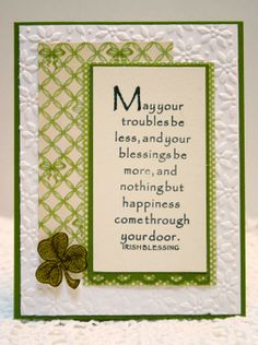 Irish Blessings St. Patrick's Day handmade card