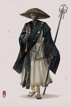 Yi's submission on Feudal Japan: The Shogunate - Character Design ArtStation - . Yi's submission on Feudal Japan: The Shogunate - Character Design Fantasy Character Design, Character Design Inspiration, Character Concept, Character Art, Concept Art, Character Types, Japanese Monk, Japanese Warrior, Ronin Samurai