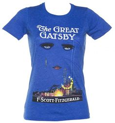 Ladies Blue F. Scott Fitzgerald The Great Gatsby Novel T-Shirt