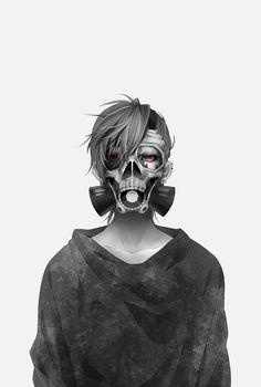 """Autor del dibuix, data i lloc: Desconegut. """"Uta"""" personatge del maga i anime """"Tokyo Ghoul"""" està amb la seva màscara ♥ L'anime i manga tenen un estil sagnant i de ciència ficció."""