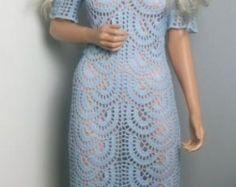 jeansowa syrenaszydełkowa suknia by ALDOARThandmade on Etsy