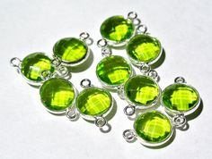 6Pcs 925 Silver Peridot Quartz Faceted Coin Bezel Connector Gemstone Charm Wedding Bridal Jewelry Supplies Available in 22kt Gold Vermeil