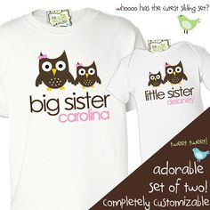 big sister little brother shirts owls or any matching sibling