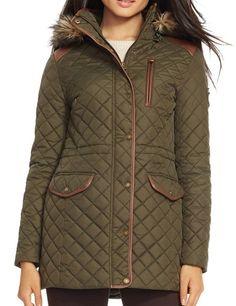 【ローレンラルフローレン】 Lauren Ralph Lauren Faux Leather Trim Quilted Anorak with Detachable Faux Fur Trim Hood キルティングアノラックジャケットフード付き 【並行輸入品】 BONBOTTE (Medium)